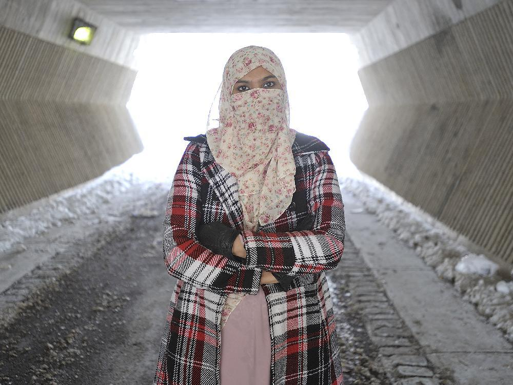 Zunera Ishaq, who wants to be allowed to wear her Niqab during the Canadian citizenship ceremony, poses near home in Mississauga, Ont. on Monday February 16, 2015.  — Photo and caption credit: J.P. Moczulski for The National Post