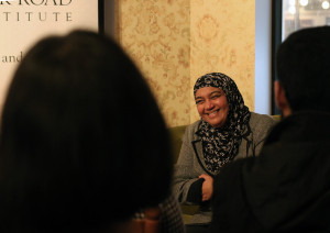 Author and Globe and Mail columnist Sheema Khan discussing her book Of Hockey and Hijab - Photo by Mohamed Shaheen
