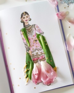 Mixed Media-Gharara (Indian skirt) and Tulips