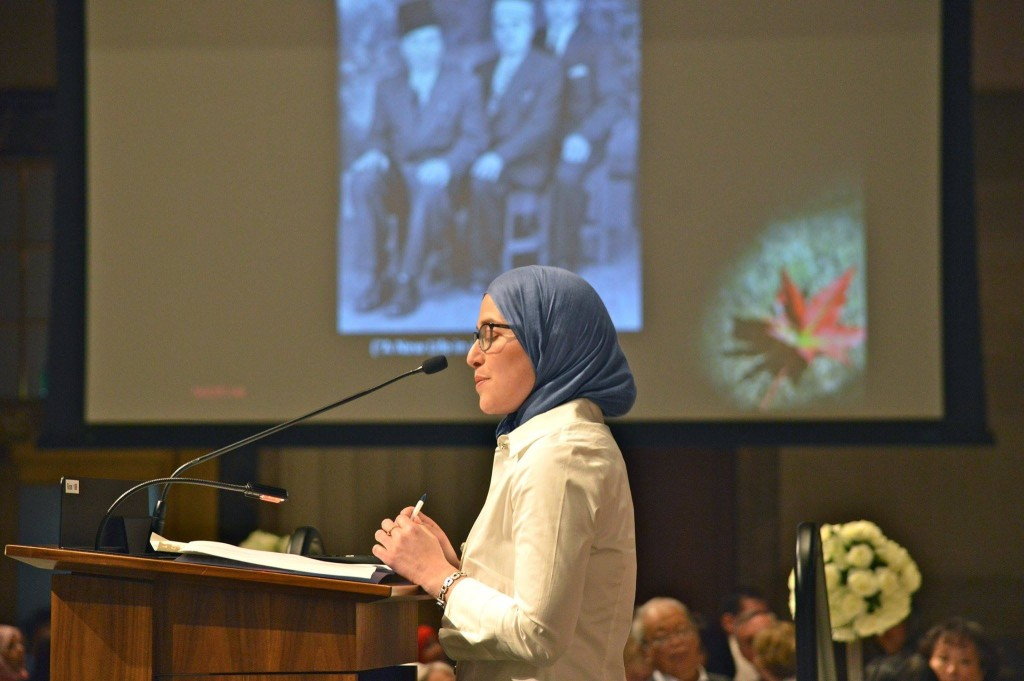 Amira Elghawaby, NCCM's Human Rights Coordinator, presents my research on the history of Muslims in Canada at the Harmony Iftar at Parliament Hill (June 2017) photo credit: NCCM