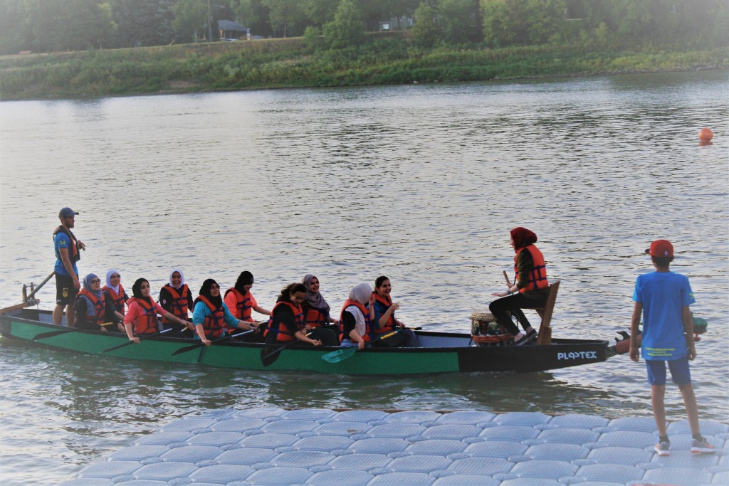 Muslim girls team participate in a dragon boat challenge in Winnipeg, Manitoba. PC: Amna Burki